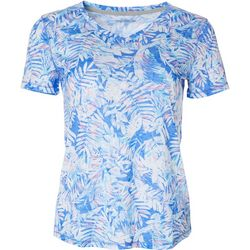 Reel Legends Petite Tropical Print V-Neck T-Shirt