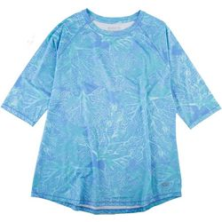 Reel Legends Petite Keep It Cool Coral Puzzle 3/4 Sleeve Top