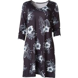 Reel Legends Petites Keep It Cool Floral 3/4 Sleeve Dress