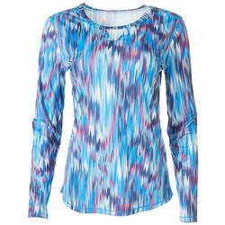 Reel Legends Womens Printed Long Sleeve Top With Keyhole