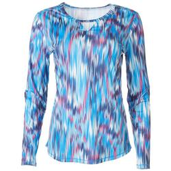 Womens Printed Long Sleeve Top With Keyhole