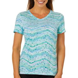 Reel Legends Petite Watercolor Chevron Burnout T-Shirt