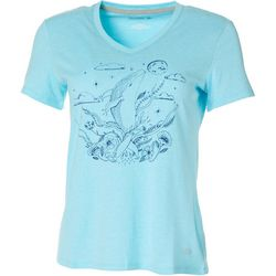 Reel Legends Petites Floral Whale V-Neck Top
