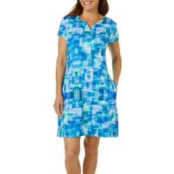 Reel Legends Petite Keep It Cool Blue Cubes Dress
