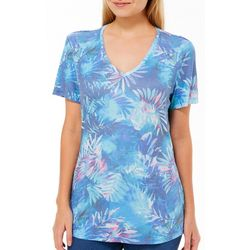 Reel Legends Petite Misty Palms Print Ribbed V-Neck Top