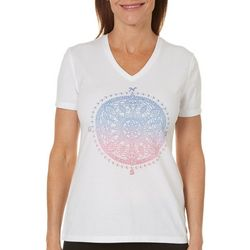 Reel Legends Petite Medallion Compass Print Top