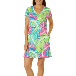 Petite Keep It Cool Sketched Palms Dress