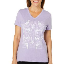Reel Legends Petite Mirror Floral Palm T-Shirt