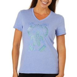Reel Legends Petite Save The Gulf V-Neck Short Sleeve Top