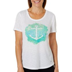Reel Legends Petite Watercolor Anchor T-Shirt