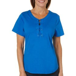 Cathy Daniels Petite Mock Lace Up Front Top
