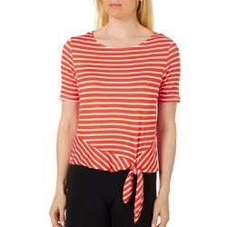 C&H Alliance Petite Striped Tie Front Top