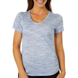 BMGM Womens Solid Space Dye Ruched Side V-Neck Top