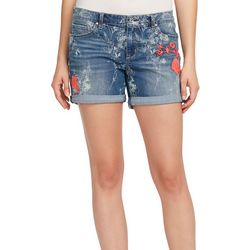Vintage America Womens Floral Roll Cuff Denim Shorts