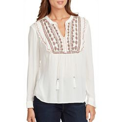 Vintage America Womens Embroidered Tassel Top