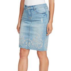 Vintage America Womens Embroidered Floral Denim Skirt