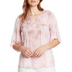 Vintage America Womens Solid Embroidered Flutter Sleeve Top