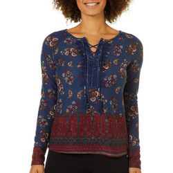 Vintage America Womens Mixed Paisley Lace-Up Waffle Top