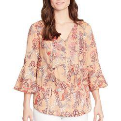 Vintage America Womens Rayne Floral Bell Sleeve Top