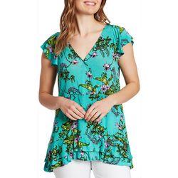 Vintage America Womens Melanie Floral Ruffle Sleeve Top