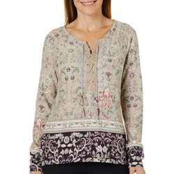 Vintage America Womens Boho Floral Lace-Up Top