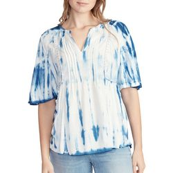 Vintage America Womens Dita Tie Dye Pleated Top