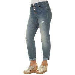 Vintage America Womens Distressed Button Fly Ankle Jeans