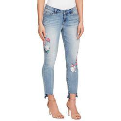 Vintage America Womens Printed Floral Destructed Hem Jeans