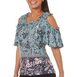 Vintage America Womens Floral Print Cold Shoulder Top