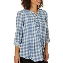 Vintage America Womens Eva Plaid Lace-Up Roll Tab Top
