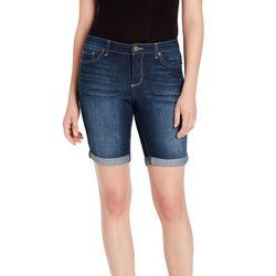 Vintage America Womens Boho Dark Wash Bermuda Shorts
