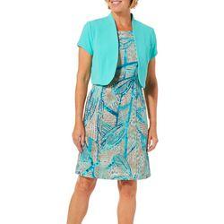 ILE NY Womens Tropical Palm Jacket Dress