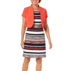 ILE NY Womens Striped Jacket Dress