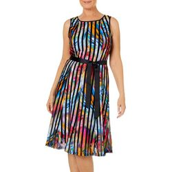 ILE NY Womens Colorful Tie Waist Panel Dress