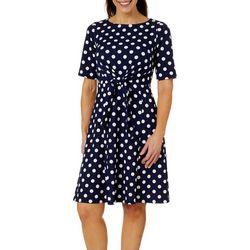 ILE NY Womens Dot Print Tie Front Dress