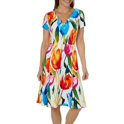 ILE NY Womens Tulip Print Scalloped Neck Dress