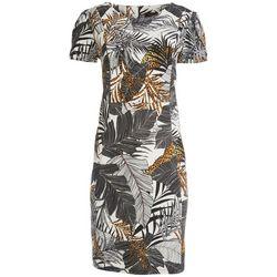 ILE NY Womens Short Sleeve Tropical Cheetah Dress