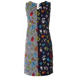 ILE NY Womens Striped Floral 3-Ring Dress