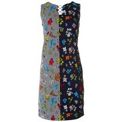 Womens Striped Floral 3-Ring Dress