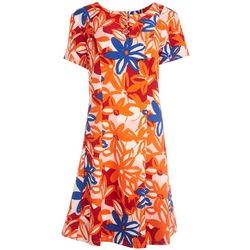 ILE NY Womens Floral Ring Embellished Short Sleeve