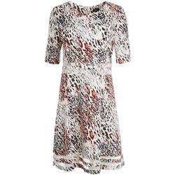 ILE NY Womens Animal Print Mesh Dress