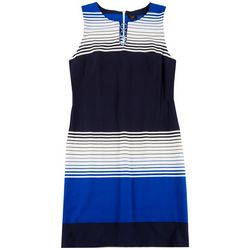 ILE NY Womens Striped 3-Ring Dress