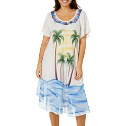 India Boutique Womens Short Sleeve Palm Tree Print Dress