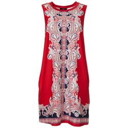 AGB Womens Sleeveless Paisley Print Swing Dress