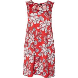 AGB Womens Sleeveless Tropical Print Swing Dress
