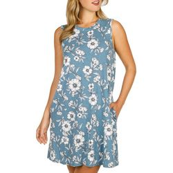 AGB Womens Sleeveless Floral Print Swing Dress