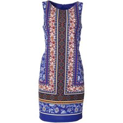 AGB Womens Sleeveless Floral Border Print Dress