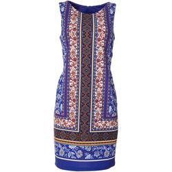 Womens Sleeveless Floral Border Print Dress