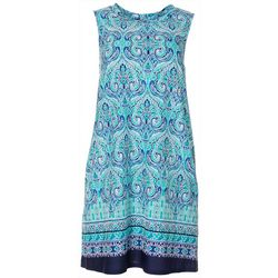 AGB Womens Sleeveless Damask Print Swing Dress