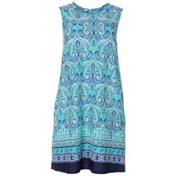 Womens Sleeveless Damask Print Swing Dress